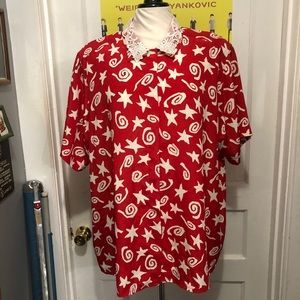 Vintage Red And White Star And Swirl Shirt